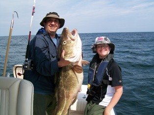 Bill & Jacob with Big Cod Fish