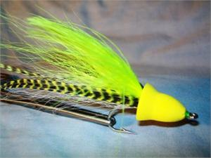 Yellow Diving head musky popper fly