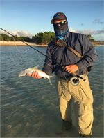 Dave Hanley in Great Inagua with a bonefish caught on Dave's electric crab.
